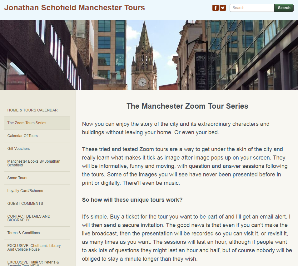 Sceenshot of the Manchester Zoom Tour Series